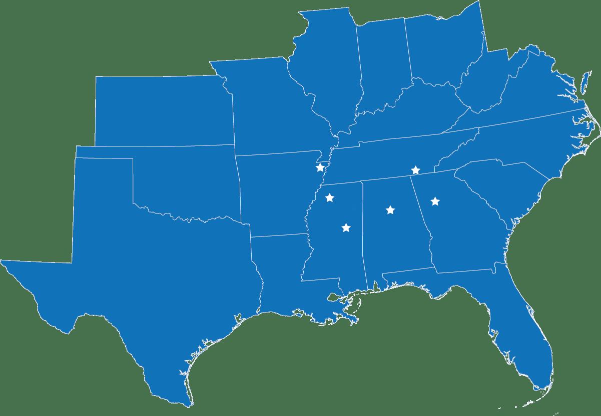Map of Southeast USA with stars denoting Louisville, MS, Oxford, MS, Blytheville, AR, Birmingham, AL, Chattanooga, TN, and Atlanta, GA